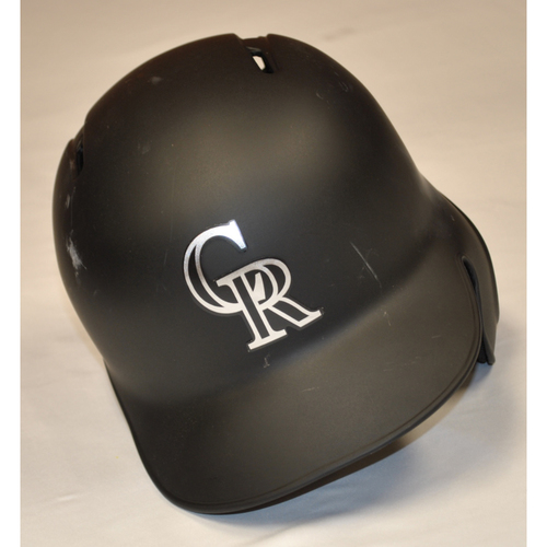 "Photo of Carlos ""WILD THING"" Estevez Colorado Rockies Team Issued 2019 Players' Weekend Helmet"