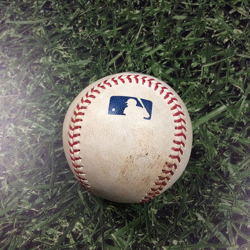 Photo of Game-Used Baseball MIN@MIL 08/13/19 - Ryne Harper - Keston Hiura & Christian Yelich: Single & RBI Double