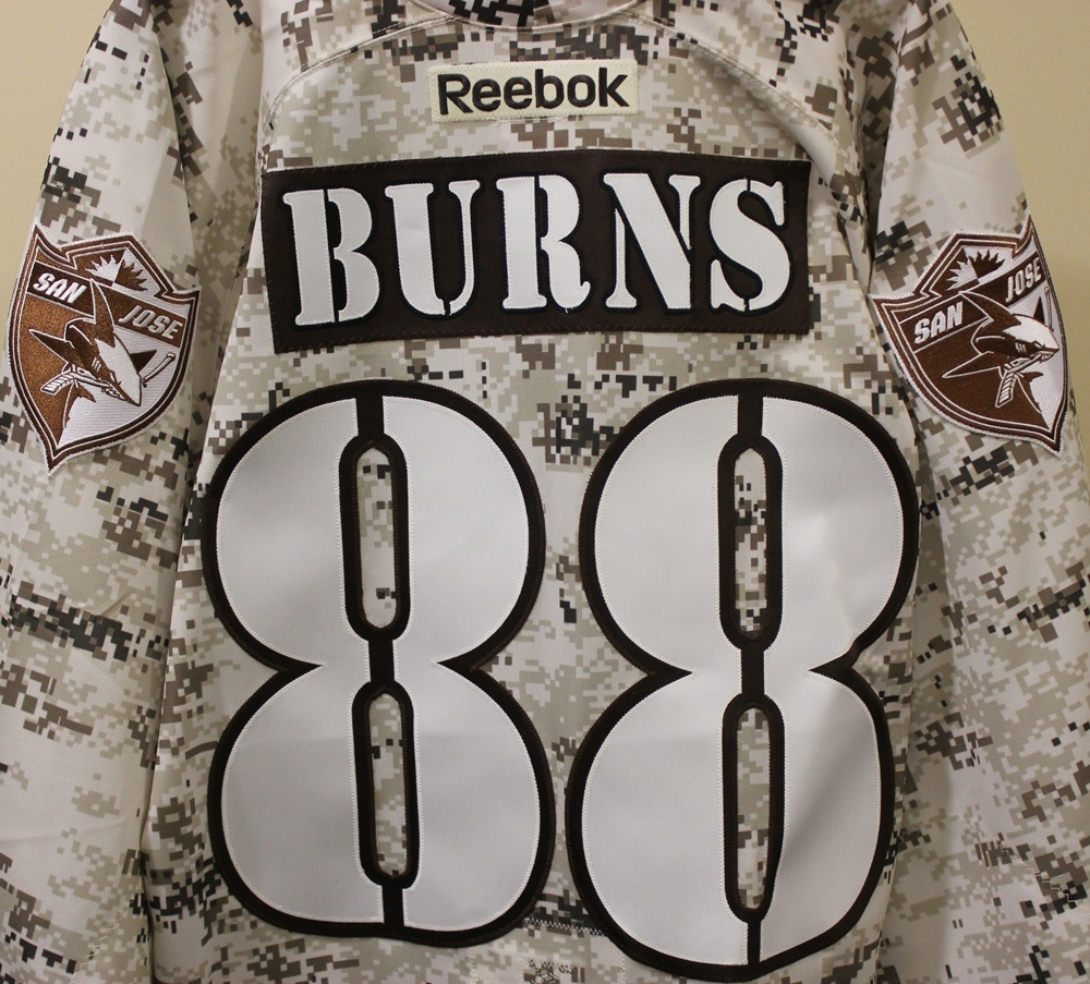 Autographed #88 Brent Burns Veterans Day Practice Jersey - San Jose Sharks