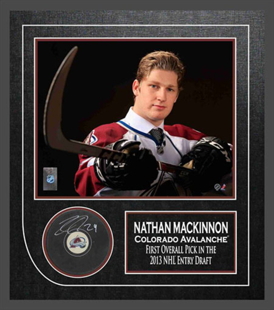 Nathan MacKinnon - Signed & Framed Colorado Avalanche Puck Etched Mat - Featuing 8x10 Action Photo