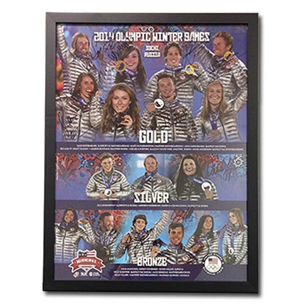 Photo of Framed and Signed Poster of the 2014 Sochi Olympics Medalists from the U.S. Ski Team, U.S. Snowboarding and U.S....