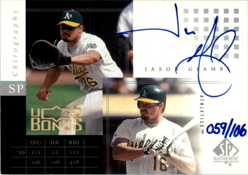Photo of 2003 Upper Deck UD Bonus #20 Jason Giambi 01 P/P Jsy/97