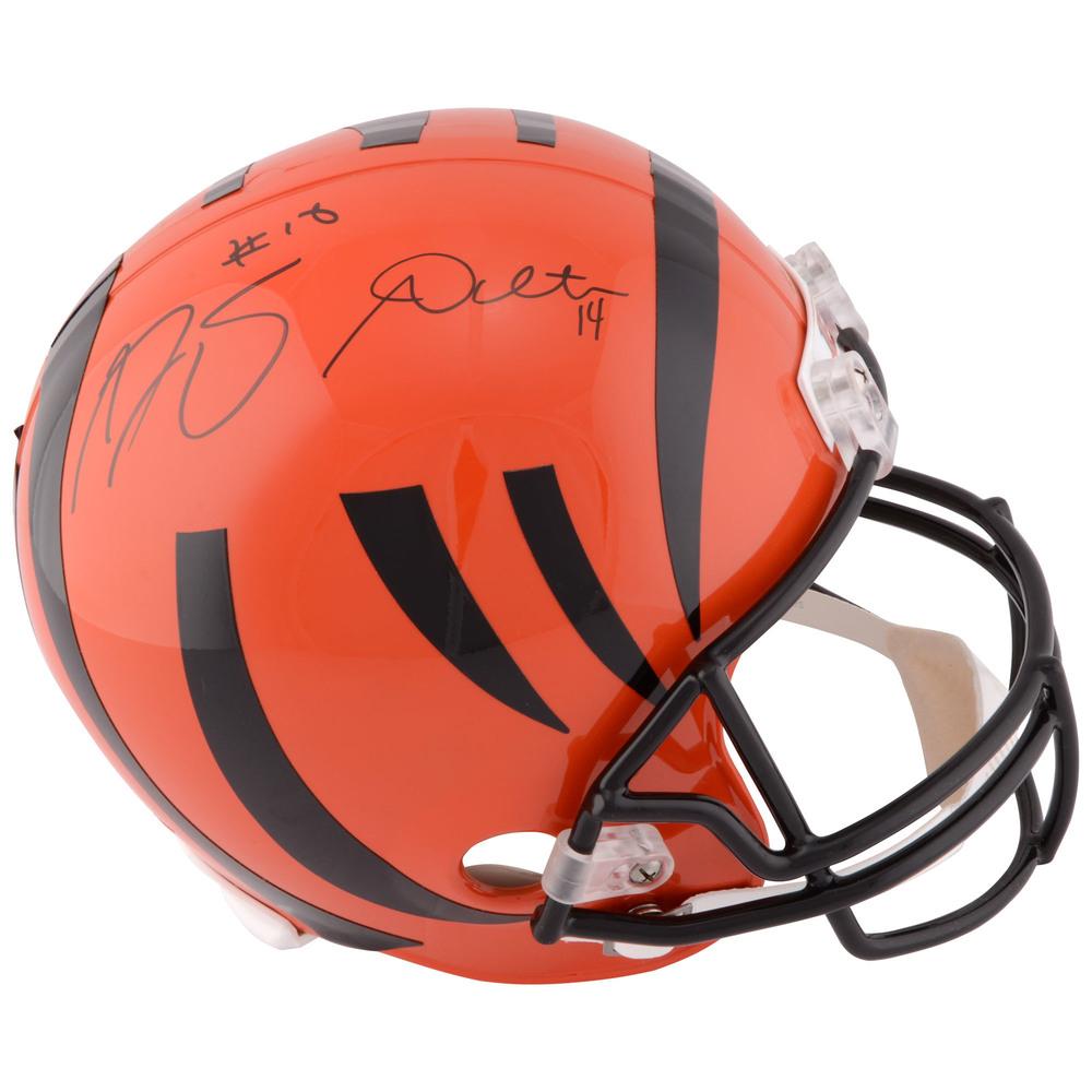 Andy Dalton & A.J. Green Dual Signed Cincinnati Bengals Autographed Riddell Replica Helmet