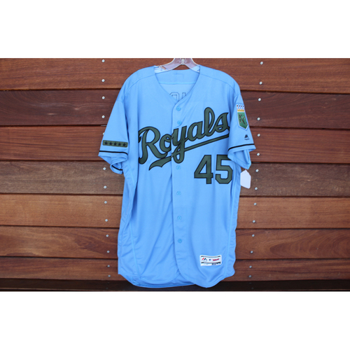 Photo of Game-Used Memorial Day Jersey: Abraham Almonte (Size 46 - MIN @ KC - 5/28/18)
