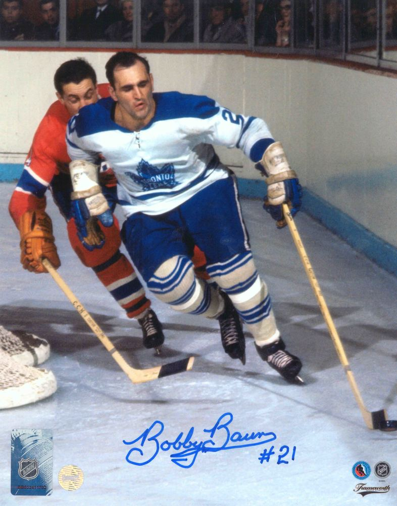 Bobby Baun Signed 8x10 Unframed Leafs vs Canadiens