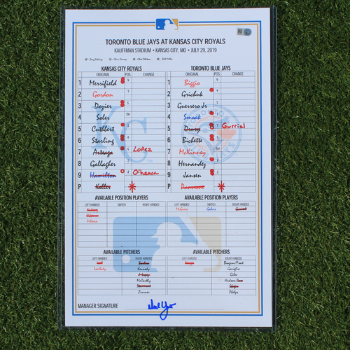 Photo of Game-Used Line-Up Card: Bo Bichette MLB Debut - 1st Career Hit (TOR @ KC - 7/29/19)