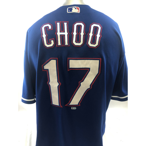 Photo of Game-Used Blue Jersey - Shin-Soo Choo - 6/27/18, 7/7/18