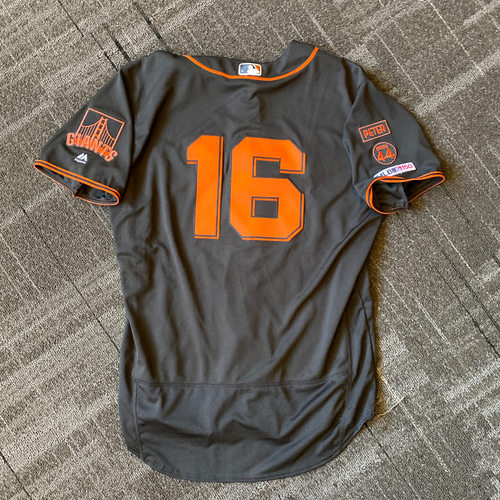 Photo of 2019 Game Used Gigantes Black Home Alternate Jersey worn by #16 Aramis Garcia on 9/14 vs. Miami Marlins - Size 48