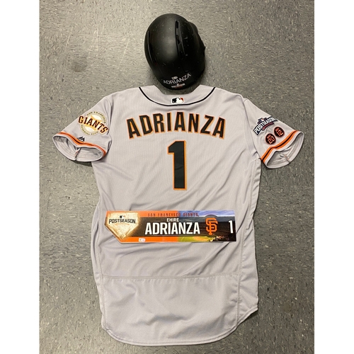 Photo of 2016 Game Used Postseason Road Jersey, Game Used Batting Helmet & Locker Tag - #1 Ehire Adrianza - Size 46 (Jersey) 7 3/8 (Batting Helmet)