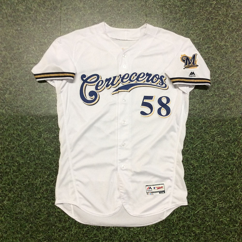 Photo of Alex Claudio 2019 Game-Used Cerveceros Jersey