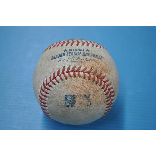 Photo of Game-Used Baseball - CLE at PIT - 8/20/2020 - Pitcher - Trevor Williams, Batter - Carlos Santana, Top 3, Single