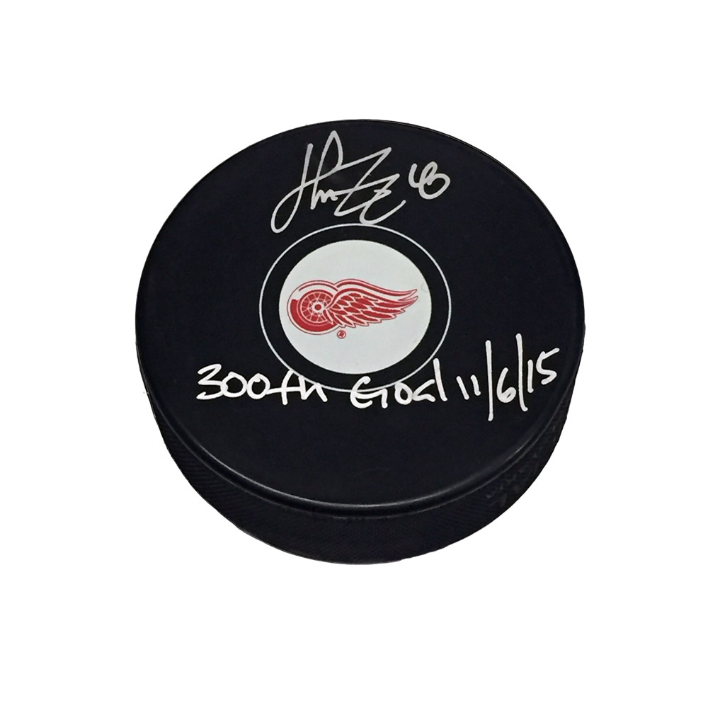 HENRIK ZETTERBERG Signed & Inscribed Detroit Red Wings Puck with 300th NHL Goal Inscription -