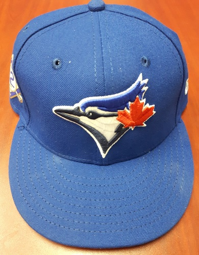 Photo of CHARITY AUCTION: Authenticated Game Used #42 Cap - Steve Pearce (May 3, 2018: 1-for-3). Size 7 1/4