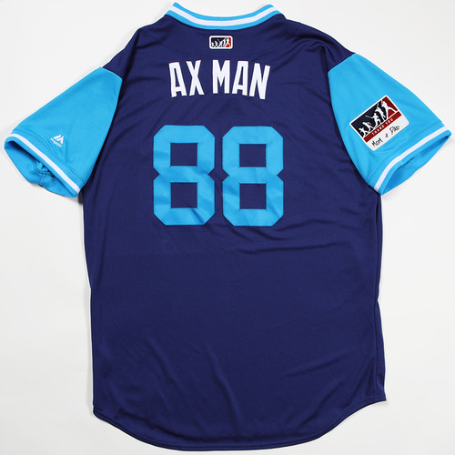 "Photo of John ""Ax Man"" Axford Los Angeles Dodgers Team-Issued 2018 Players' Weekend Jersey"