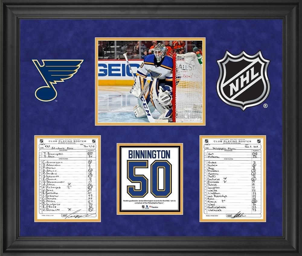 St. Louis Blues Framed Original Line-Up Cards from January 7, 2019 vs. Philadelphia Flyers - Jordan Binnington First NHL Win and First NHL Shutout