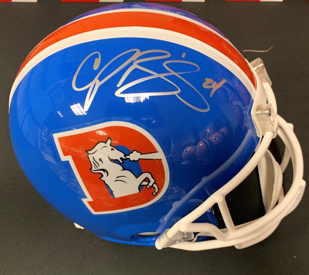 Champ Bailey signed Denver Broncos Throwback  Helmet