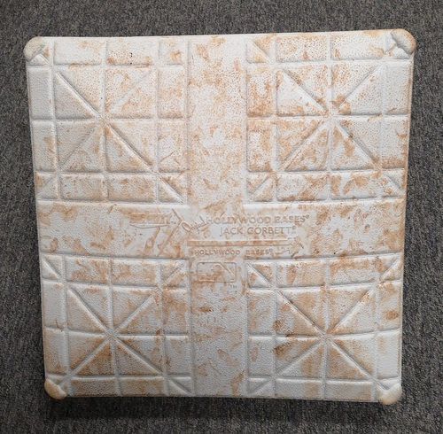 Photo of Authenticated Game Used Base (MLB Debut for Vladimir Guerrero Jr. Game): 2nd Base for Innings 7 to 9 (Apr. 26, 19 vs OAK). 1st MLB Hit (Double) for Guerrero Jr.