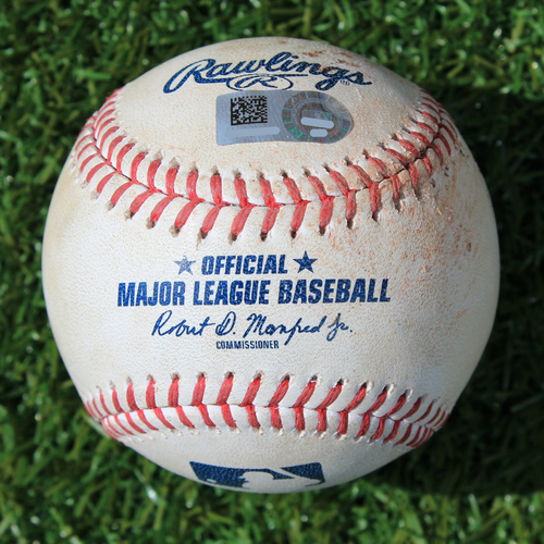Photo of Game-Used Baseball: Randy Arozarena MLB Debut - Strike Out Swinging (STL @ KC - 8/14/19)