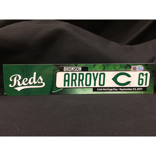 "Photo of Bronson Arroyo ""Irish Heritage"" Team-Issued Locker Tag from Bronson Arroyo Farwell Game -- Red Sox vs. Reds on 9/23/17"