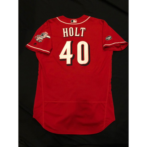 Photo of Tyler Holt - Game-Used Jersey - Became 3rd Position Player in GABP History to Pitch in a Game