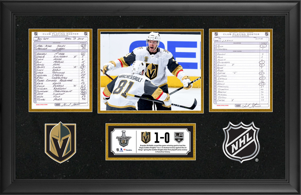 Vegas Golden Knights Game-Used 2018 Stanley Cup Playoffs 1st Round Game 4 Line-Up Cards- Brayden McNabb Scores the Game-Winning Goal To Clinch The Series