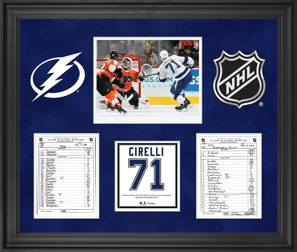 Tampa Bay Lightning Framed Original Line-Up Cards from November 17, 2018 vs. Philadelphia Flyers - Anthony Cirelli Overtime Game-Winning Goal