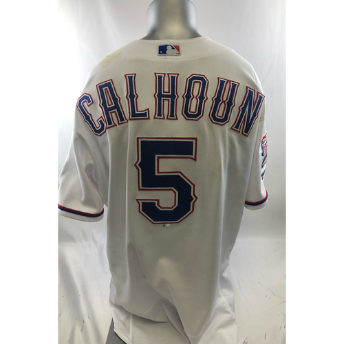 Photo of Game-Used White Jersey - Willie Calhoun - 8/3/19, 8/4/19
