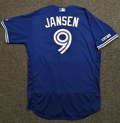 Photo of Authenticated Game Used Jersey: #9 Danny Jansen (Sept 14, 19 vs NYY: 0-for-3 with 1 Walk and 1 Run). Size 48.