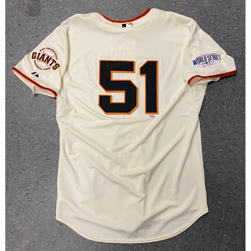 Photo of 2014 Team Issued World Series Home Cream Jersey - #51 Erik Cordier - Size 50
