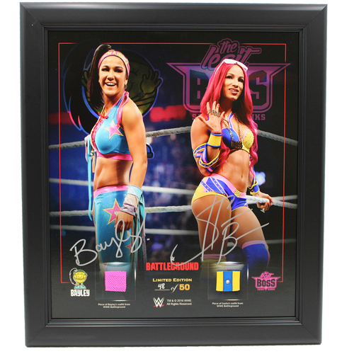 Bayley and Sasha Banks SIGNED Battleground 2016 Frame (Random Number)