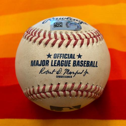 Photo of Game-Used Baseball 9/1/20 Astros vs Rangers (Valdez to Solak - RBI Single)