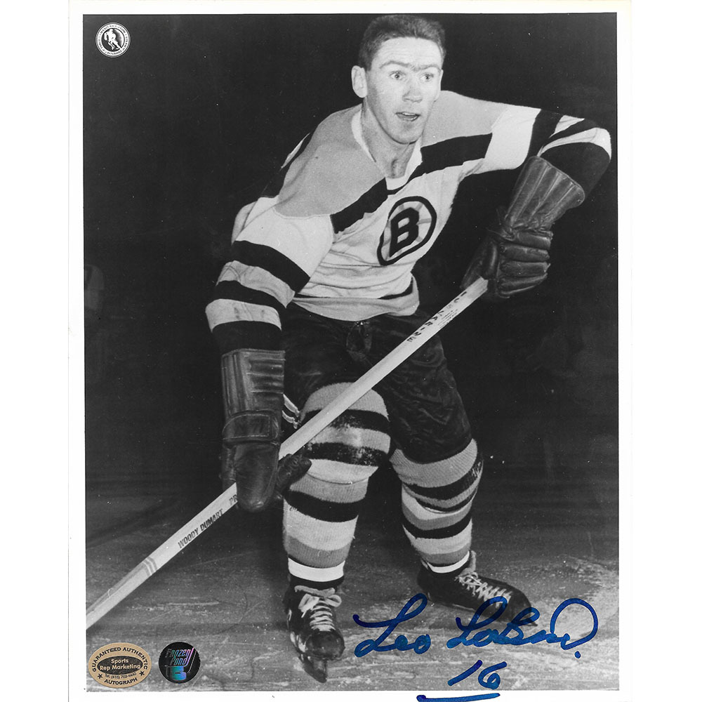 Leo Labine Autographed Boston Bruins 8X10 Photo