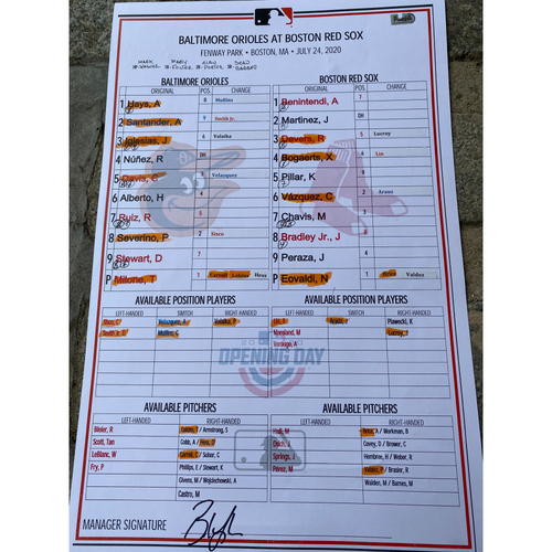 Photo of 2020 Lineup Card