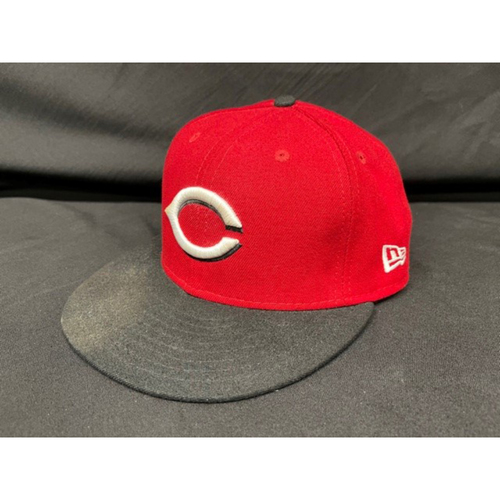 Photo of Kyle Farmer -- Game-Used Cap -- Worn During Wade Miley No-Hitter on May 7, 2021 - Reds @ Indians -- Size 7 1/8