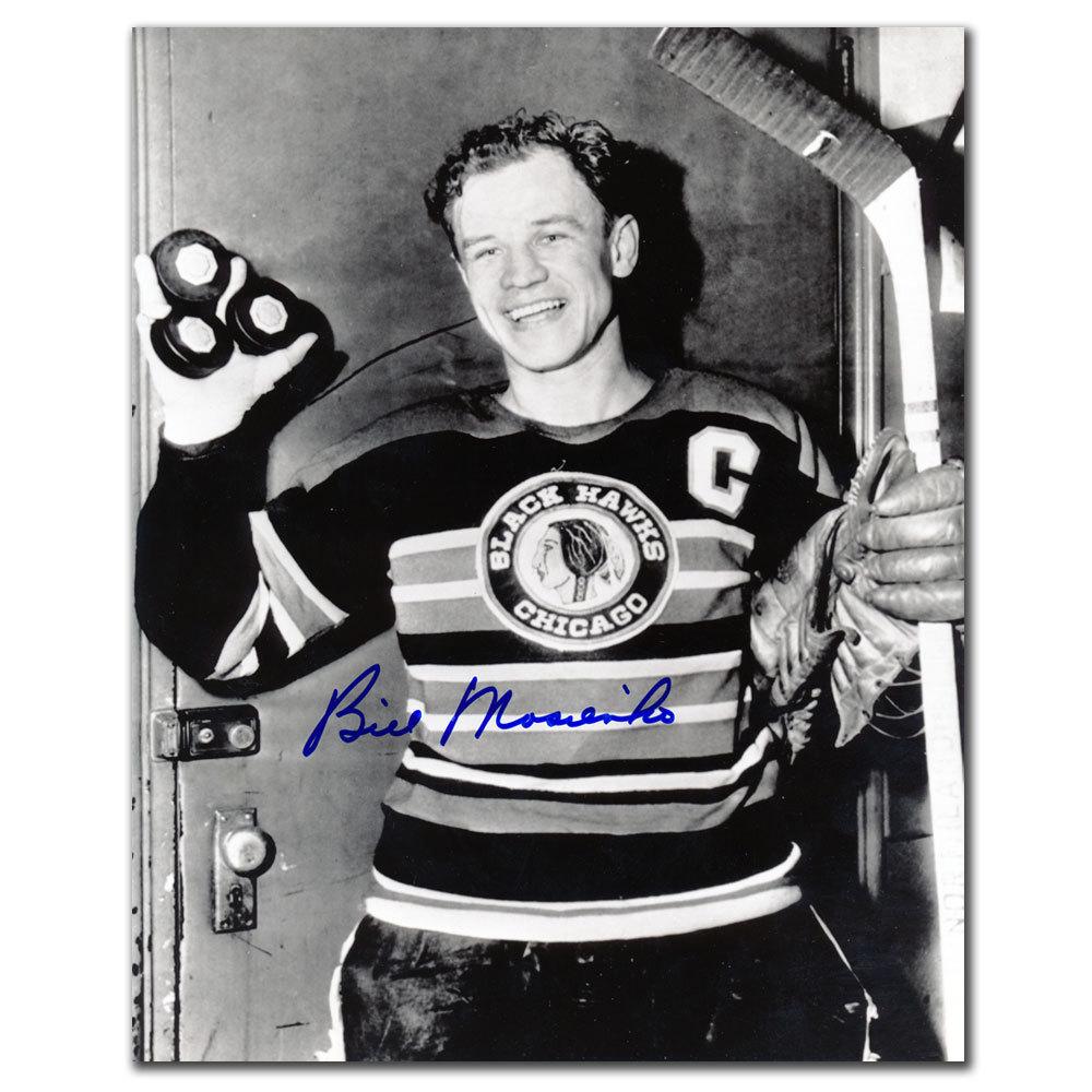 Bill Mosienko Chicago Blackhawks HAT TRICK 21 SECONDS Autographed 8x10