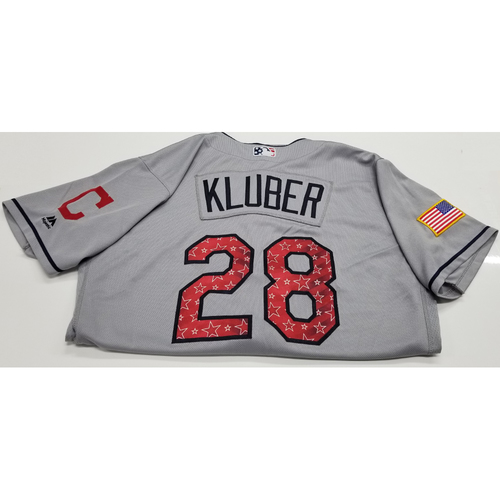 Photo of Corey Kluber Game-Used 2018 Stars & Stripes Jersey