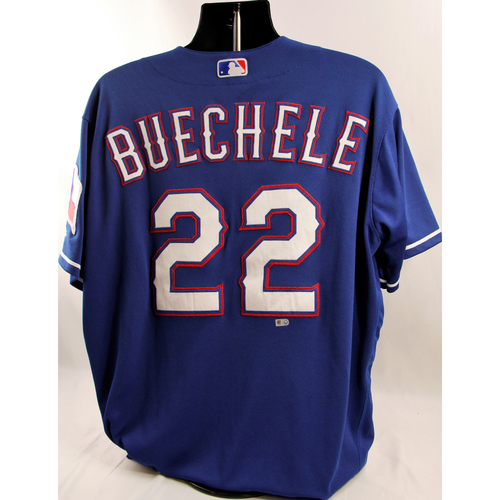 Photo of Game-Used Blue Jersey - Steve Buechele - 6/22/18