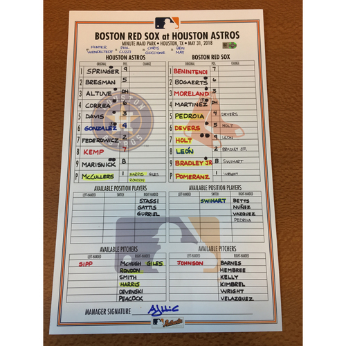 Photo of 2018 Game-Used Lineup Card - 5/31/18 vs BOS