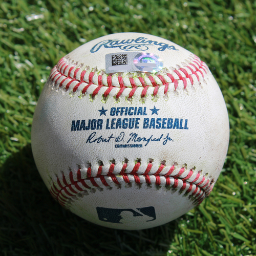 Photo of Game-Used Baseball: Mitch Haniger 313th Career Hit and 166th Career RBI & Domingo Santana 67th Career Double and 181st & 182nd Career RBIs (SEA @ KC - 4/8/19)