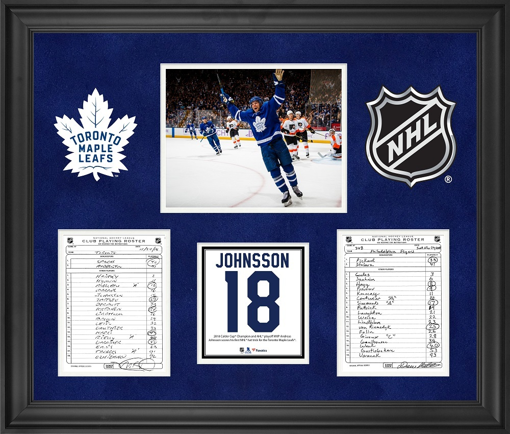 Toronto Maple Leafs Framed Original Line-Up Cards from November 24, 2018 vs. Philadelphia Flyers - Andreas Johnsson First NHL Hat Trick