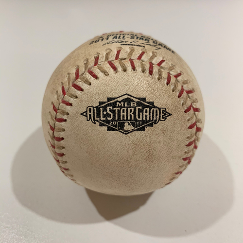 Photo of 2011 All Star Game - Game Used Baseball - Batter: Carlos Beltran Pitcher: Jered Weaver - Pitch In Dirt