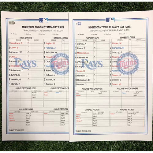 Photo of Replica LineUp Cards: May 30-June 2, 2019 v MIN