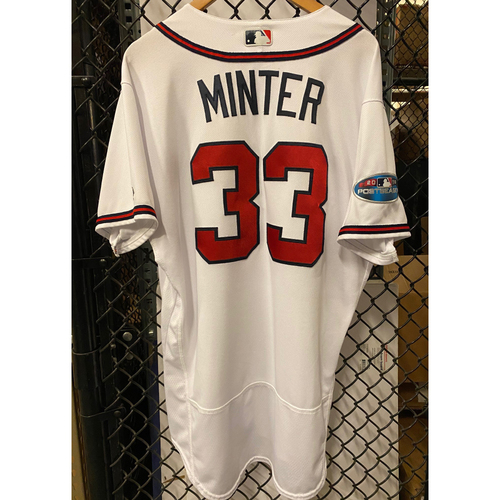 Photo of AJ Minter Game Used Jersey from 2018 NLDS - Worn 10/7/18 and 10/8/2018
