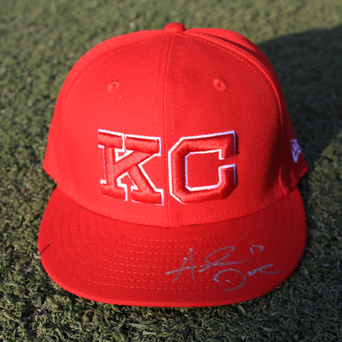 Photo of Autographed Monarchs Cap: Hunter Dozier (STL @ KC 9/22/20)