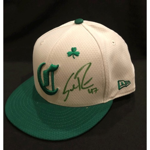 Photo of Sal Romano -- Autographed & Game-Used Cap -- 2019 St. Patrick's Day