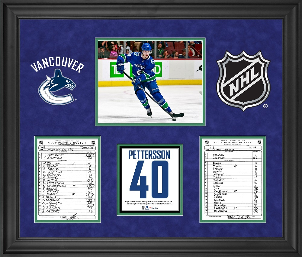 Vancouver Canucks Framed Original Line-Up Cards from November 2, 2018 vs. Colorado Avalanche - Elias Pettersson Five Point Game