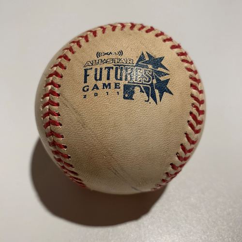 Photo of 2011 Futures Game - Game Used Baseball - Batter: Austin Romine Pitcher: Henderson Alvarez - Fouled Off
