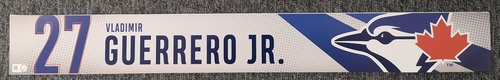 Photo of Authenticated Game Used Locker Name Plate: #27 Vladimir Guerrero Jr. (Sept 11, 19 vs BOS: 1-for-3 with 1 Run and 3 RBIs)