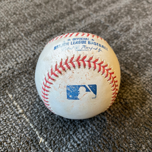 Photo of 2019 Game Used Baseball used on 9/12 vs. Pittsburgh Pirates - T-4: Jeff Samardzija to Cole Tucker - Triple to RF (First Career Triple)
