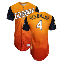 Photo of Chris Herrmann #4 Las Vegas Aviators 2019 Road Alternate Jersey